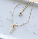 Gold and White Beaded Horn Necklace