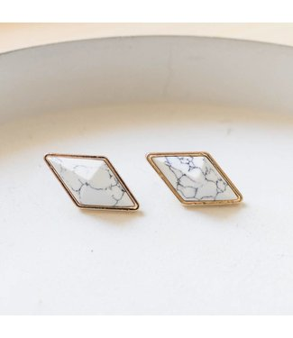 White Marble Diamond Stud