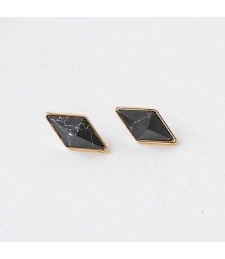 Black Marble Diamond Studs