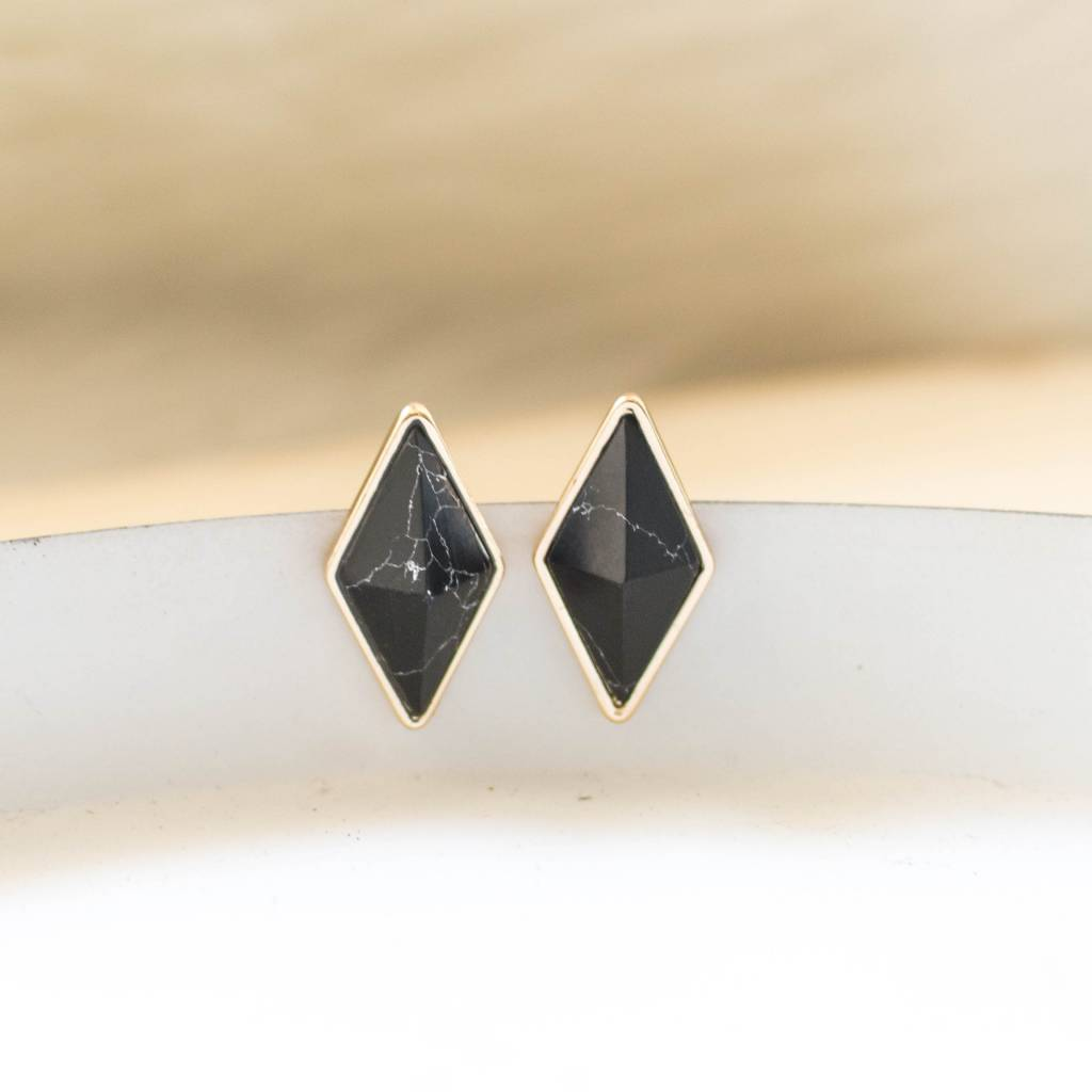 Black Marble Diamond Studs
