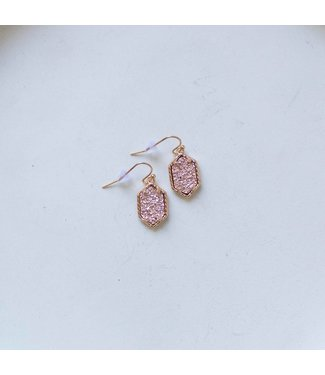 Pink Druzy Dangle Earring