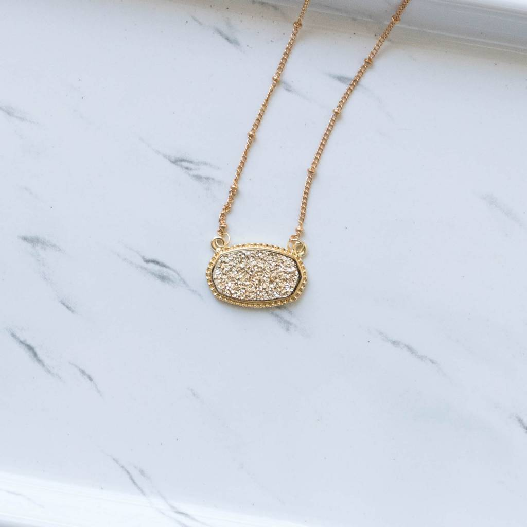 Gold Druzy Charm Necklace