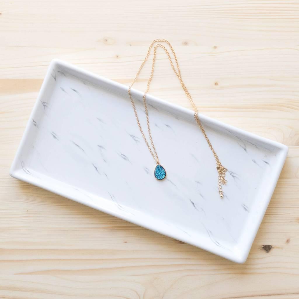 Dark Blue Druzy Necklace