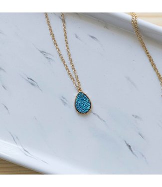 Dark Blue Druzy Necklace