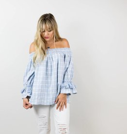 Off the Shoulder Blue Plaid Top