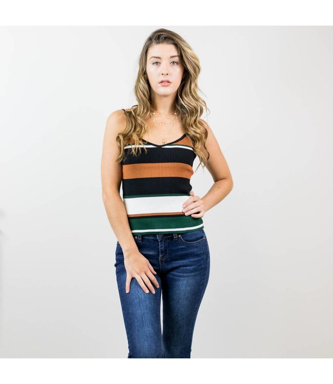 Ribbed Color Block Tank