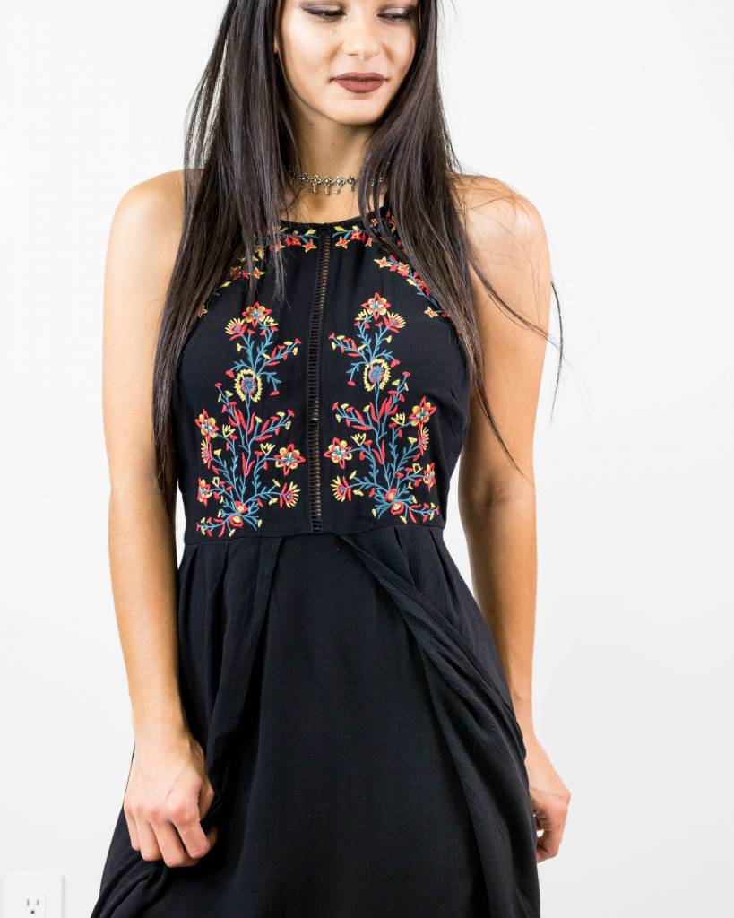 Embroidered High-low Maxi Dress