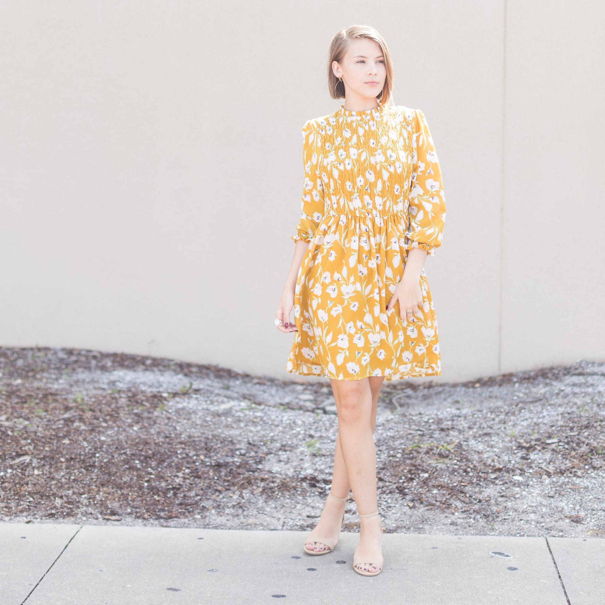 Yellow Floral Boutique Dress
