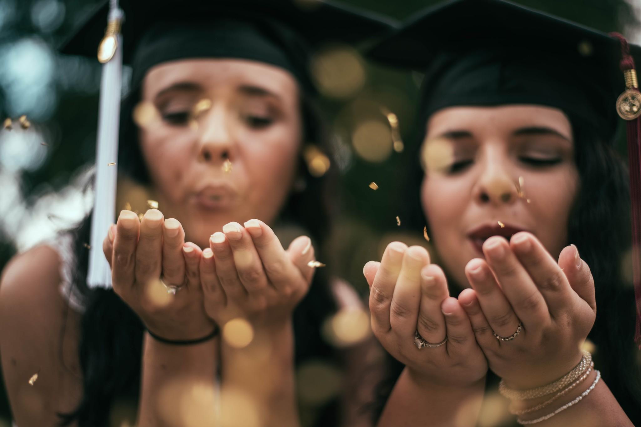 Graduation Photo with Confetti