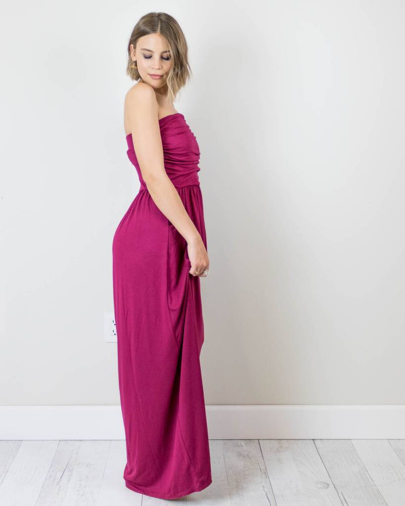 Strapless Maxi Dress With Pockets
