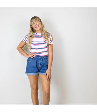 Red and Blue Striped Crop Tee