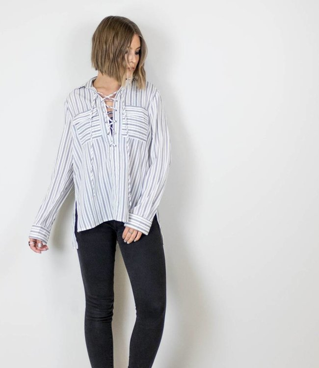 Striped Lace Up Blouse