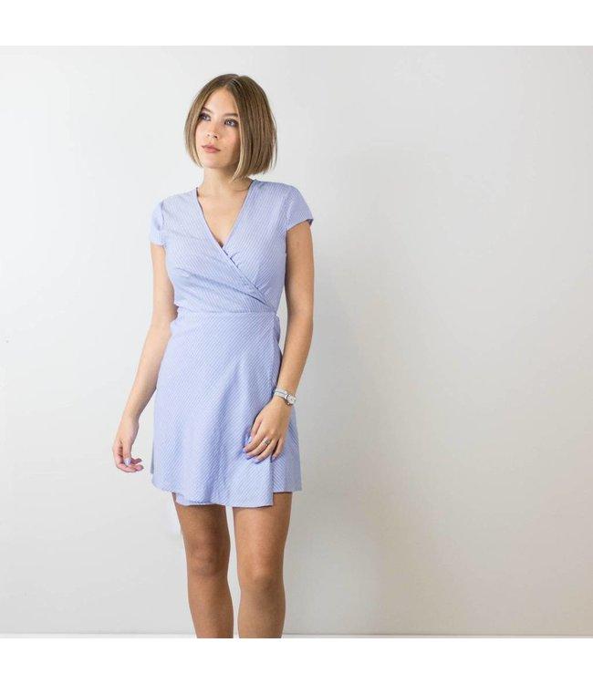 Pinstripe Wrap Dress