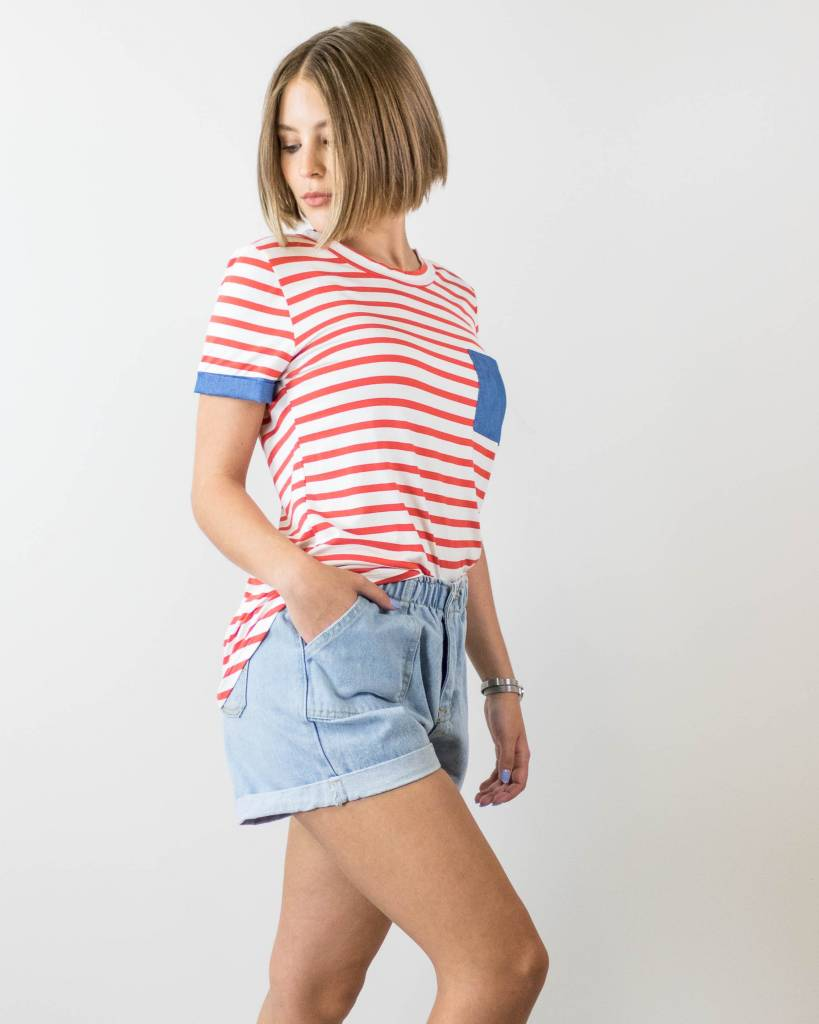 Red, White and Blue Striped Tee