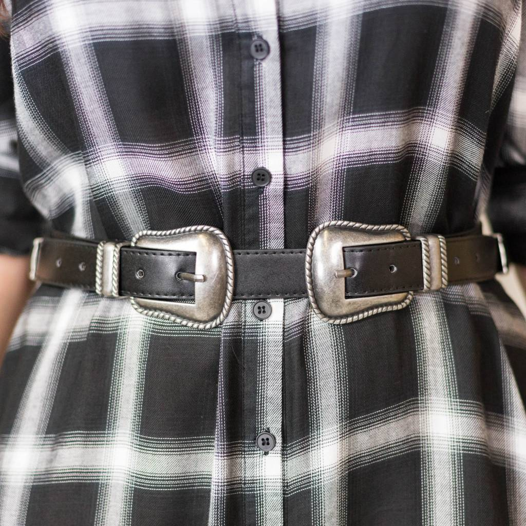 Black Belt with Silver Double Buckle