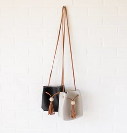 Wooden Tassel Leather Purse