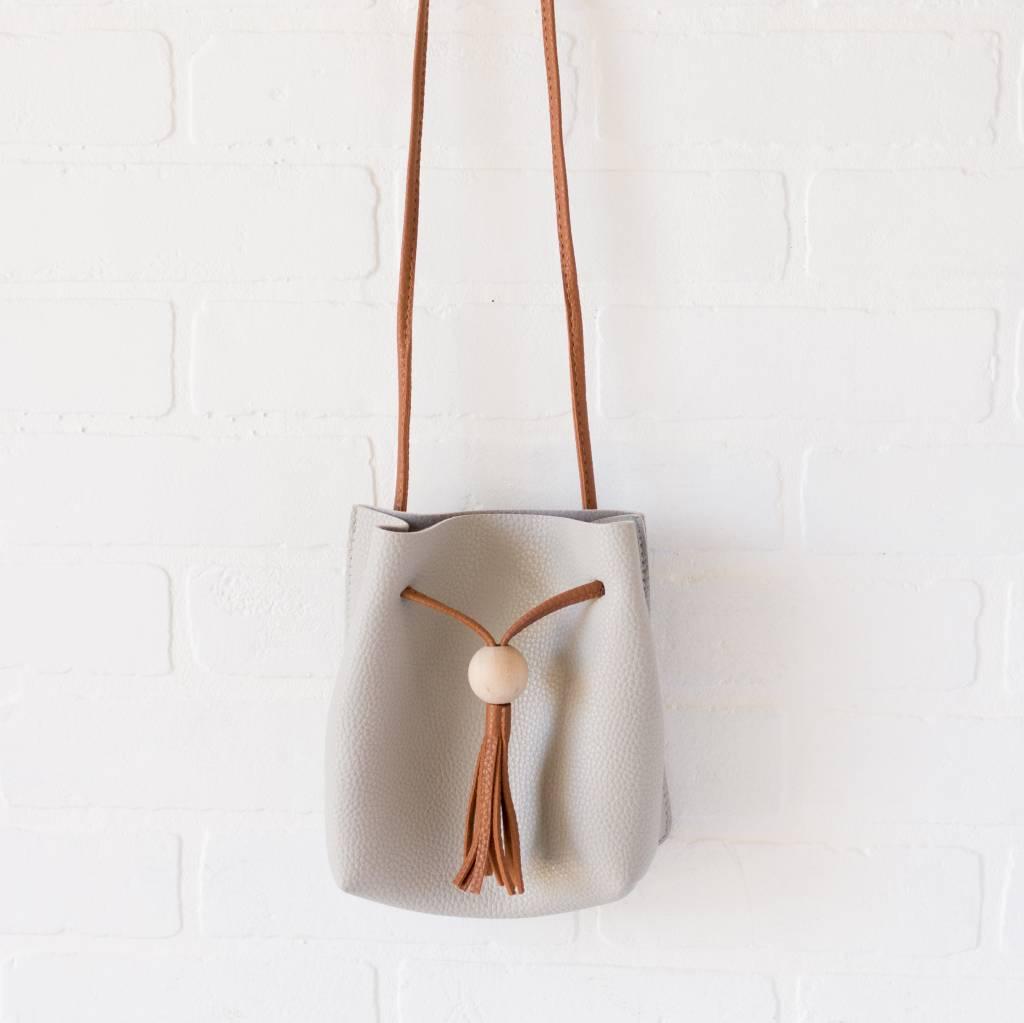 Wooden Tassel Leather Purse