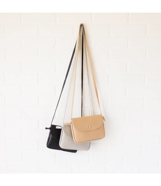 Snap Leather Cross-body Purse