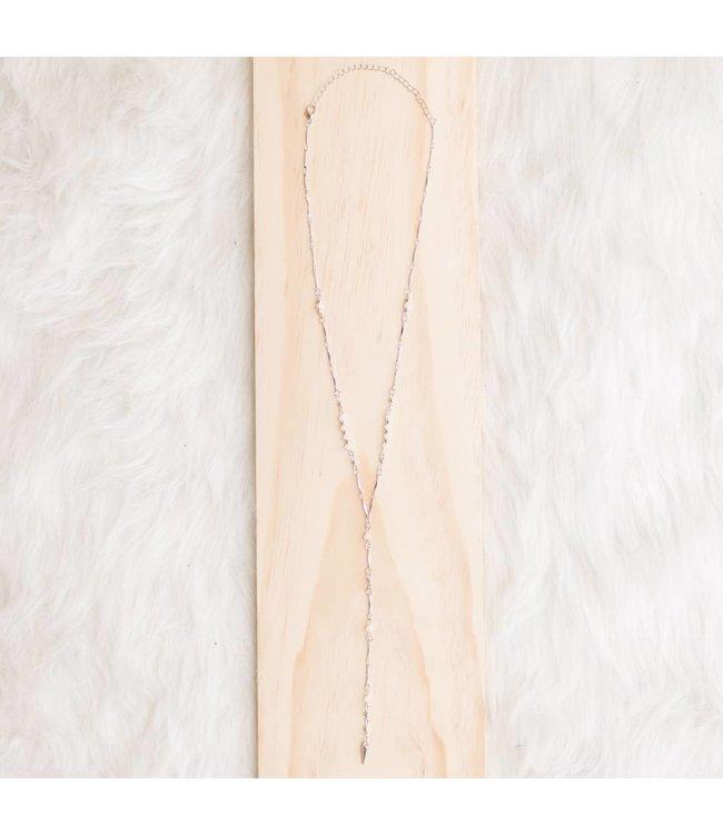 Silver Beaded Y Necklace