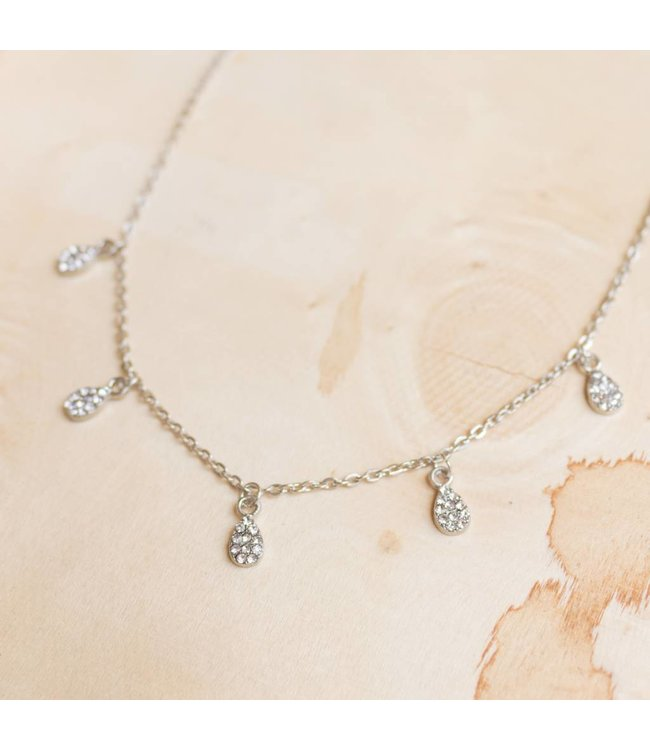 Rhinestone Teardrop Charm Necklace
