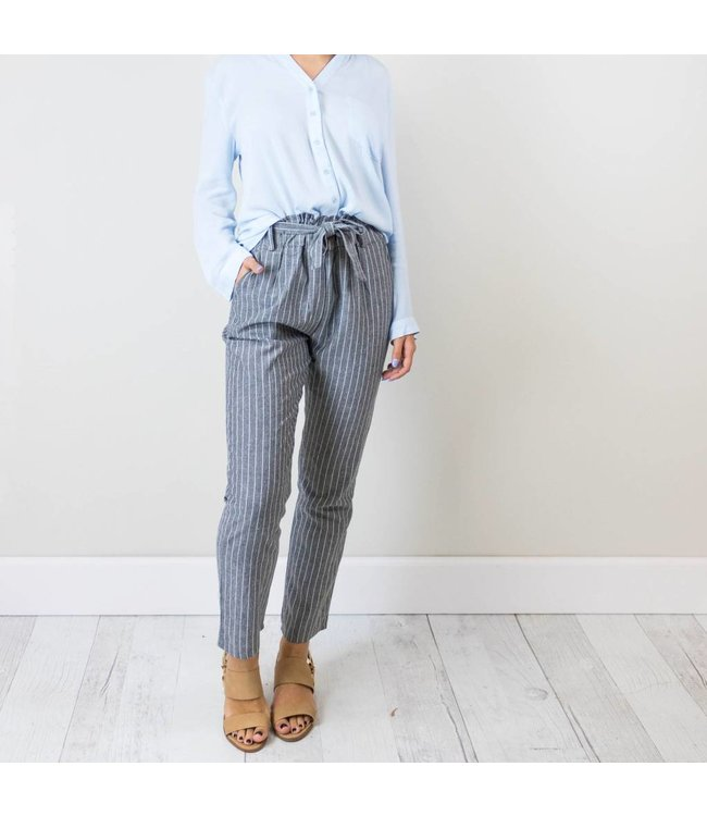 Gray Striped Bow Pants