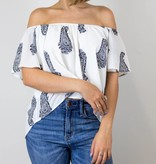 White Paisley Off the Shoulder Top