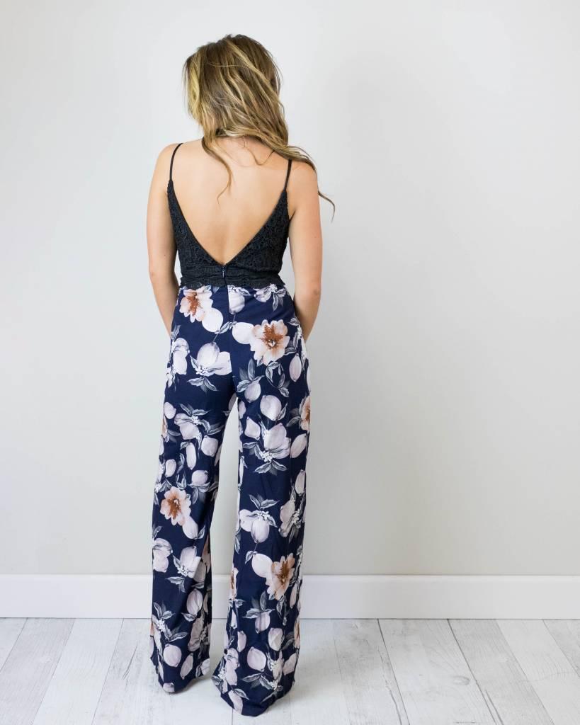 Black Lace Floral Jumpsuit