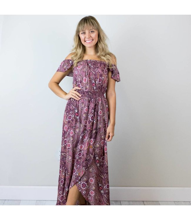 Off the Shoulder Paisley Maxi Dress
