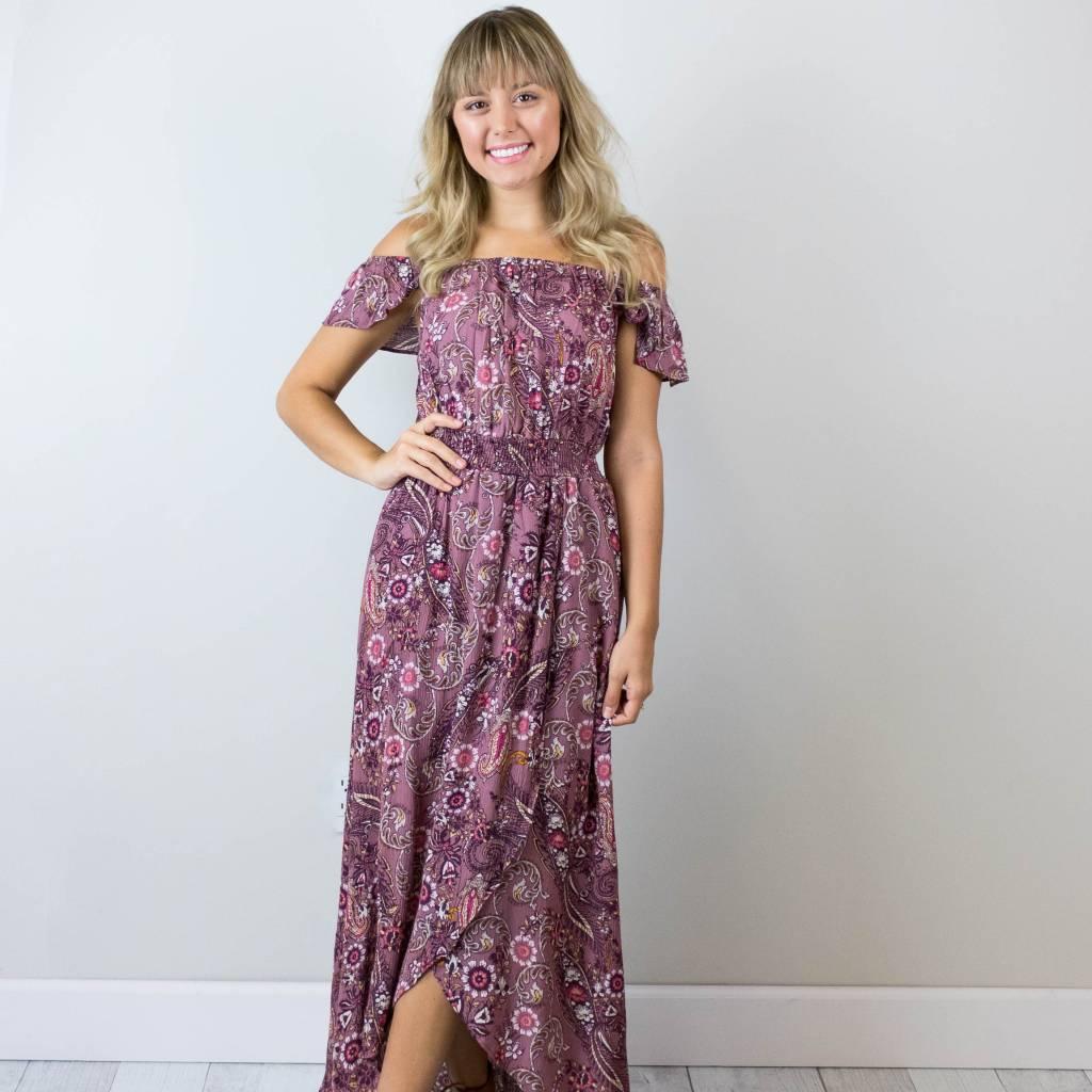 Off the Shoulder Paisley Maxi Dress