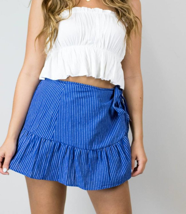 Blue Pinstripe Wrap Skirt
