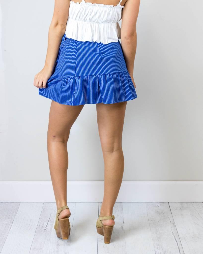 Blue Pinstripe Wrap Skirt