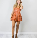 Orange Lace Romper