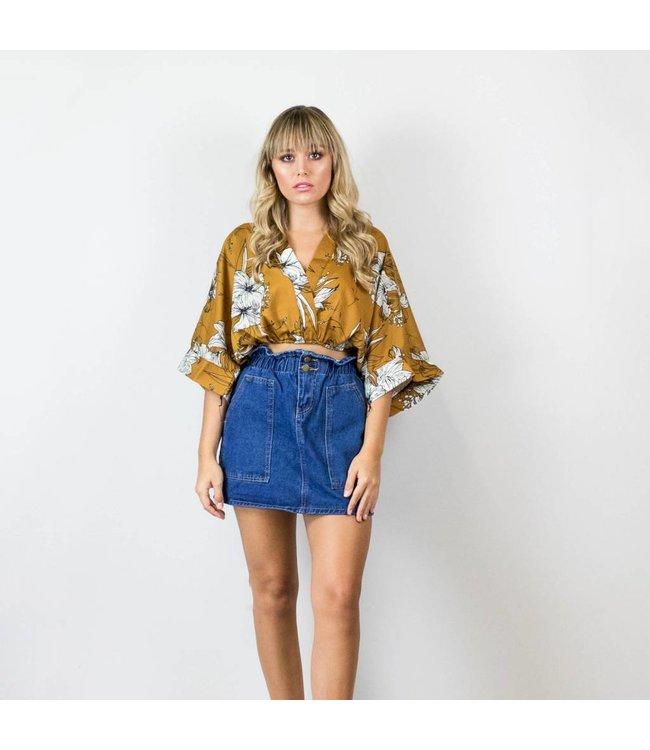 Mustard Floral Top