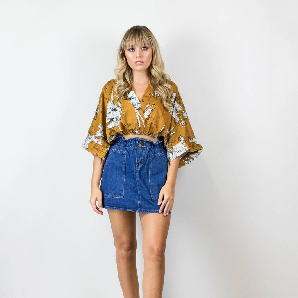 Mustard Floral Top