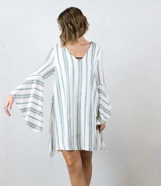 Green Striped Boho Dress