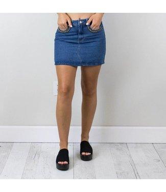 Studded Denim Skirt