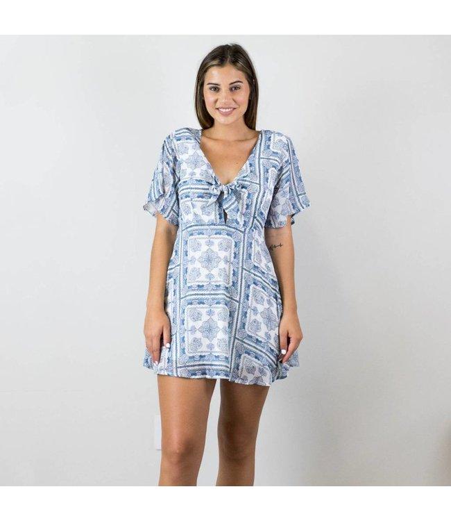 Blue Patterned Chiffon Dress