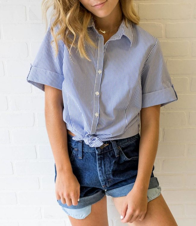 Vintage Blue Stripe Button Down