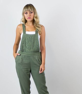 Embroidered Olive Overalls