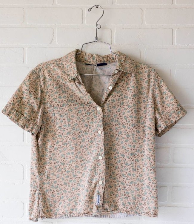 Vintage Tan Floral Button Up
