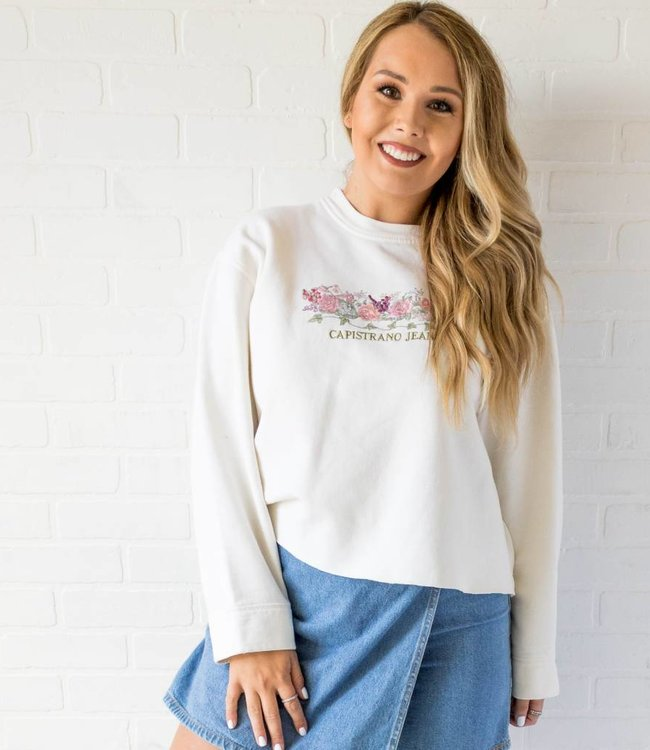 Vintage Embroidered Floral Sweat Shirt