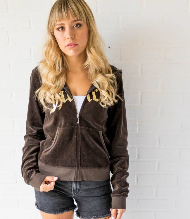 Vintage Brown Juicy Zip Hoodie