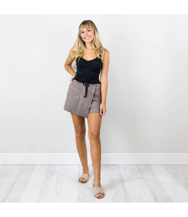 Suede Envelope Shorts