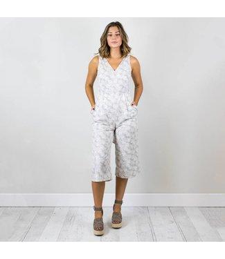 Grey Palm Print Jumpsuit