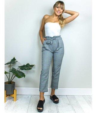 Grey Bow Plaid Pants
