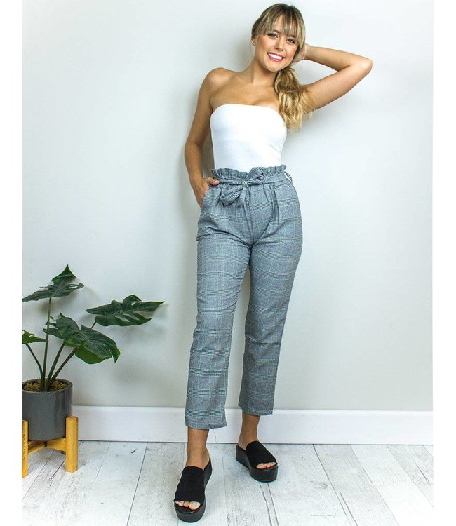 Grey Bow Plaid Pants