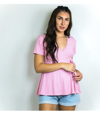 Pink Stripe Wrap Top