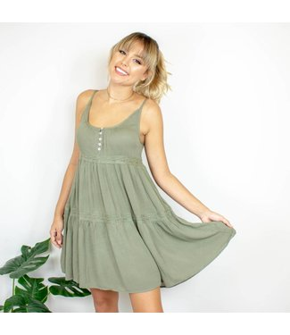 Olive Lace Shift Dress