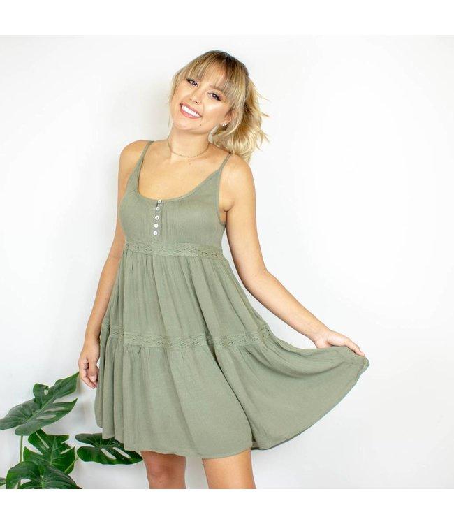 Olive Lace Shift Dress