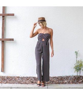 Strapless Striped Jumpsuit